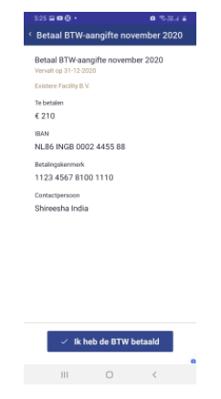 Betalen aangiften omzetbelasting via Visionplanner App