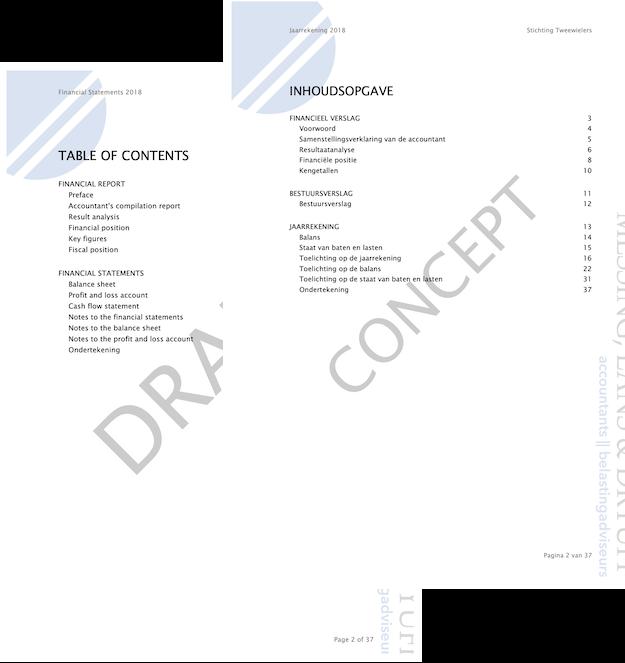 Voorbeeldrapporten jaarrekening Engels & Stichting