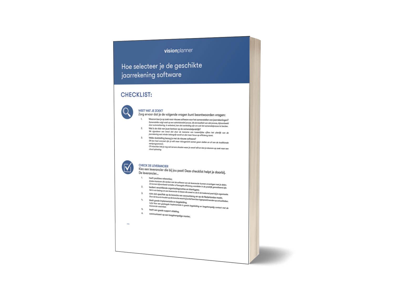 Boek Checklist Hoe selecteer je de geschikte jaarrekening software
