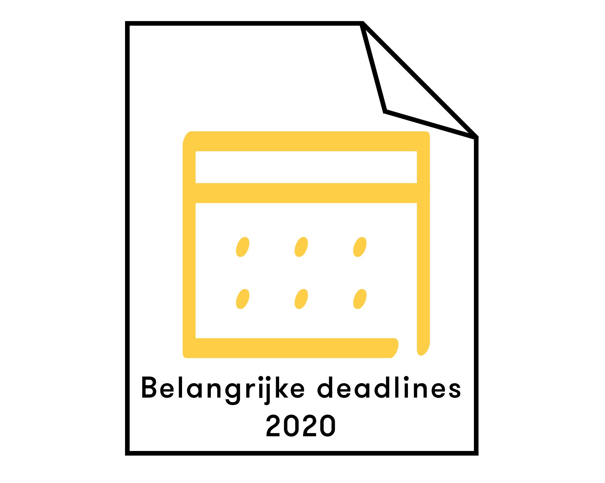 afbeeldig belangrijke deadlines 2020